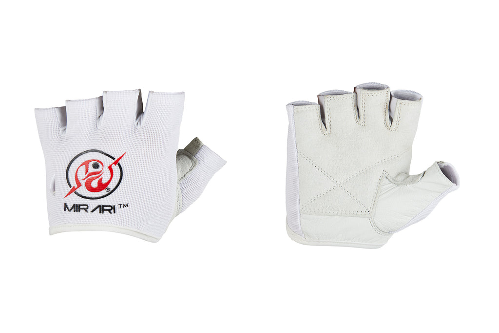 Fitness Gloves Ribbed; White Leather