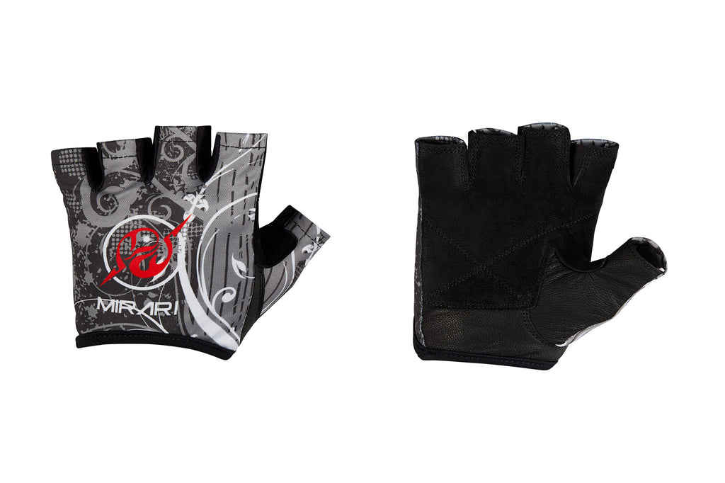 Fitness Gloves; Graphics; Black White Leather