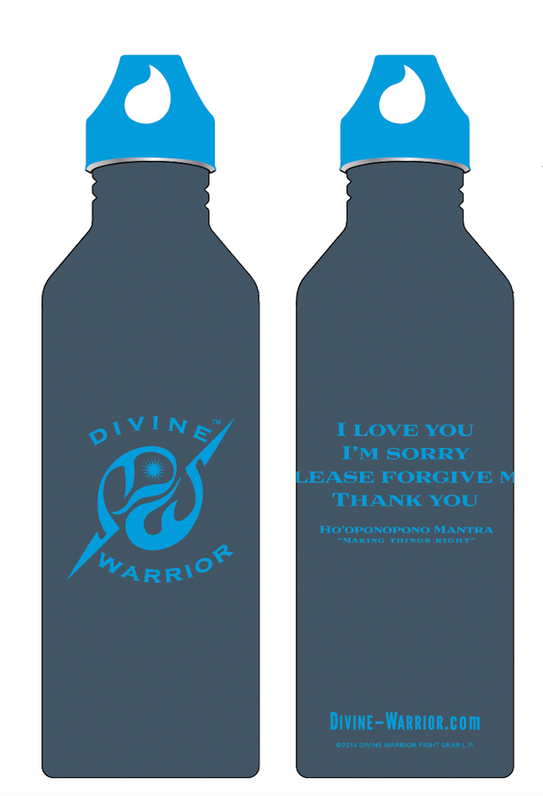 MIRARI® // Divine Warrior® Collection Water Bottle Blue with Silver Label 25 oz
