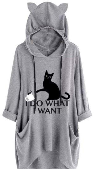 Women Casual Cat Printed Ear Hooded Top T-Shirt - THE FASHION POP