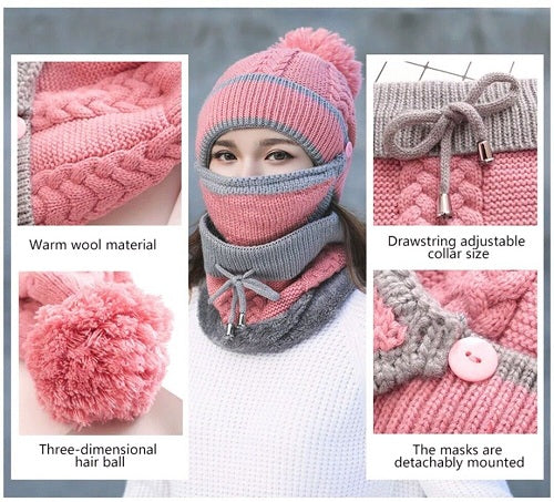 Beanie Hat with Scarf Winter face Mask ~ THE FASHION POP
