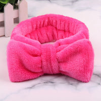 New OMG Letter Coral Fleece Wash Face Bow Hairbands For Girls and Womens - THE FASHION POP
