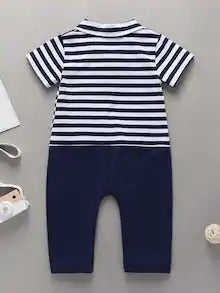 Baby Boy Bow Front Striped Contrast Panel Jumpsuit