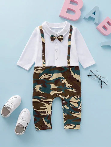 Baby Boy Camouflage Print Popper 2 In 1 Jumpsuit