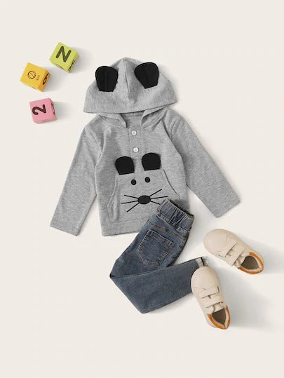 Baby Boy Cartoon Print Ears Patched Hoodie