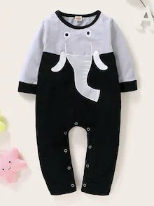 Baby Boy Elephant Pattern Contrast Panel Jumpsuit