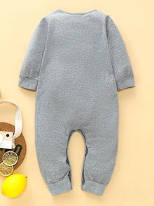 Baby Boy Letter And Bear Print Popper Sweatshirt Jumpsuit