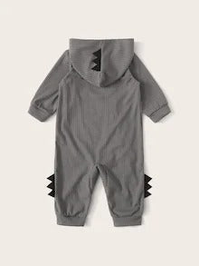 Baby Boy Oblique Zipper Patched Hooded Jumpsuit