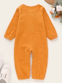 Baby Boy Solid Half Placket Long Sleeve Jumpsuit