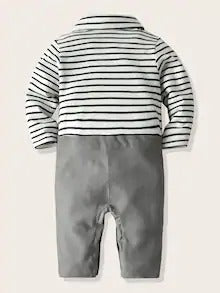 Baby Boy Striped Bow Button Through Spliced Jumpsuit