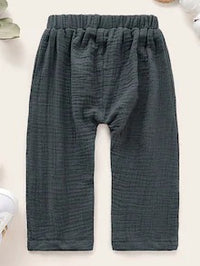 Baby Button Detail Elastic Waist Pants