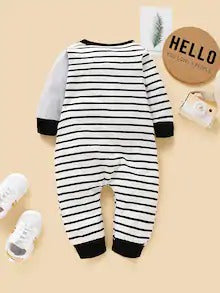 Baby Contrast Binding Striped Elephant Print Jumpsuit
