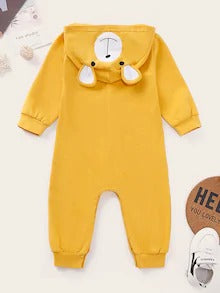 Baby Girl Cartoon Pattern Popper Through Hooded Jumpsuit