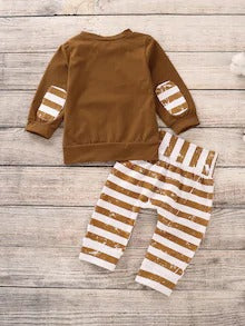 Baby Striped Pocket Sweatshirt With Knee Patched Pants