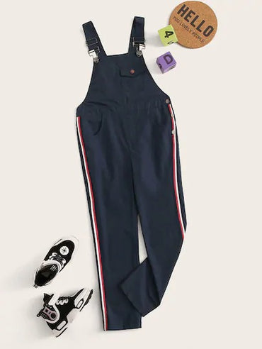 Boys Buckle Strap Pocket Patched Side Striped Pinafore Jumpsuit