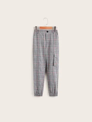 Boys Button Fly Pocket Patched Plaid Pants
