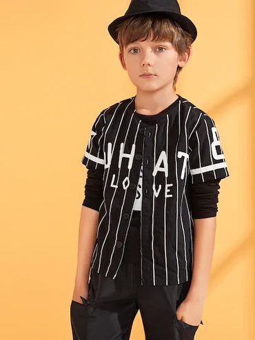 Boys Button Front Letter & Striped Print Shirt