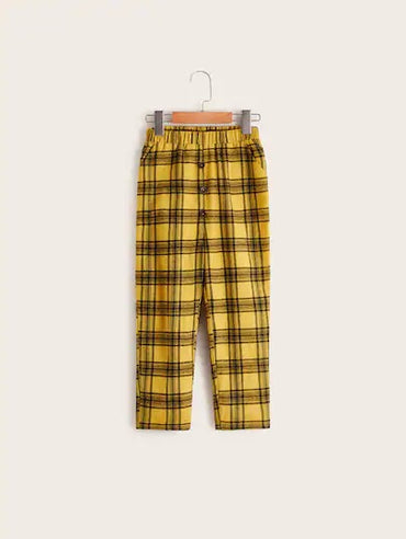 Boys Buttoned Front Slant Pocket Tartan Pants