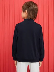Boys Colorblock Zip Half Placket Letter Print Pullover