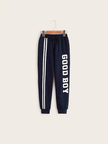 Boys Contrast Striped Slogan Print Sweatpants