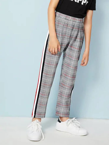 Boys Contrast Striped Tape Side Glen Pants