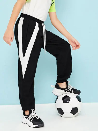 Boys Drawstring Waist Chevron Print Side Pants