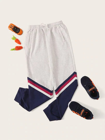 Boys Drawstring Waist Colorblock Pants