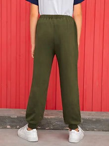 Boys Drawstring Waist Flap Sweatpants