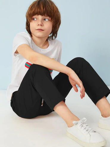 Boys Drawstring Waist Straight Leg Solid Pants
