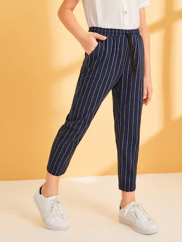 Boys Drawstring Waist Striped Pants