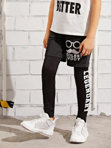 Boys Letter 2 In 1 Leggings