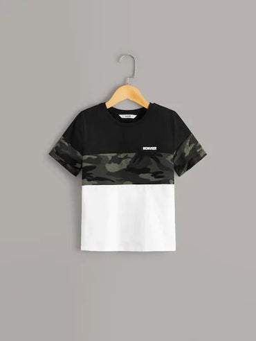 Boys Letter And Camo Print Colorblock Tee