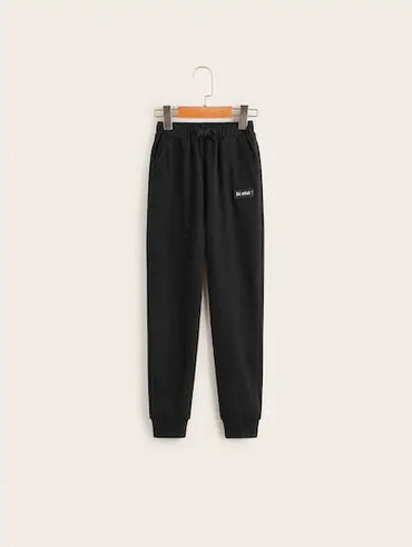 Boys Letter Patched Slant Pocket Sweatpants