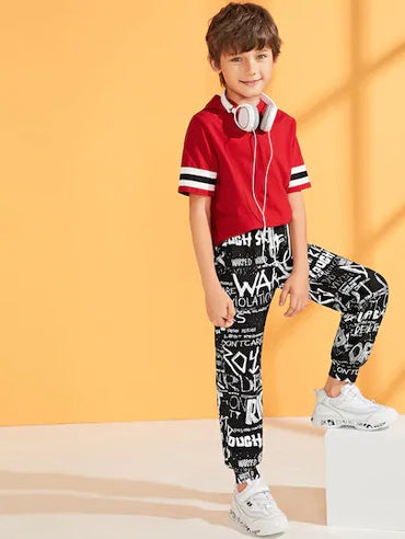 Boys Letter Print Carrot Pants