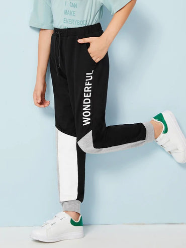 Boys Letter Print Cut-And-Sew Sweatpants