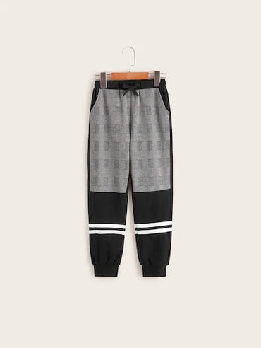 Boys Plaid Print Tie Front Pants