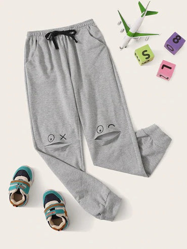 Boys Slant Pocket Cartoon Print Peekaboo Sweatpants