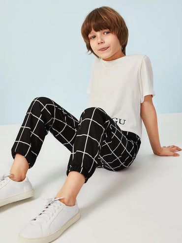 Boys Slant Pocket Drawstring Waist Grid Pants