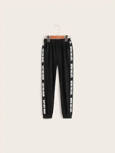Boys Slant Pocket Letter Tape Side Sweatpants