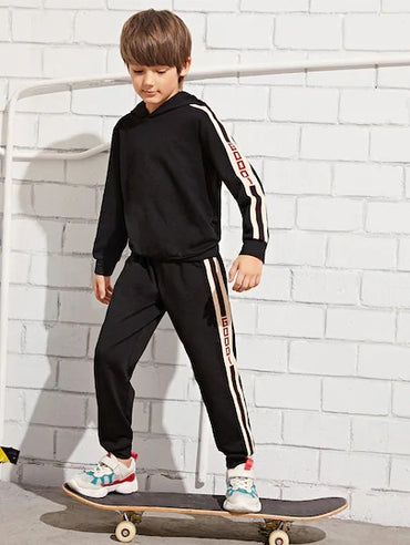 Boys Striped Side Letter Print Hoodie & Sweatpants Set
