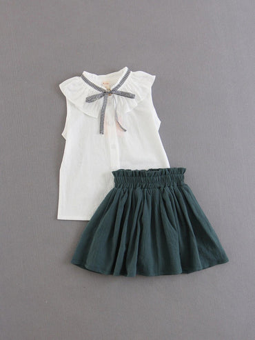 Girls Bow Tie Neck Top With Skirt