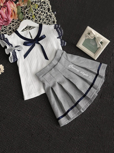 Girls Contrast Lace Ribbon Detail Top With Skirt