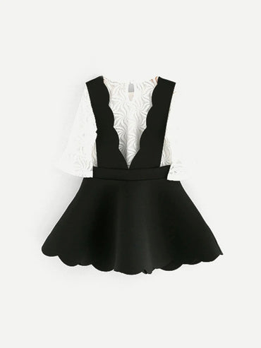 Girls Flounce Sleeve Mesh Top With Pinafore Skirt