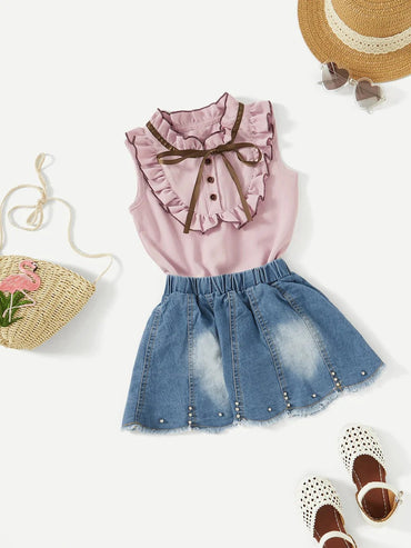 Girls Frill Trim Blouse With Denim Skirt