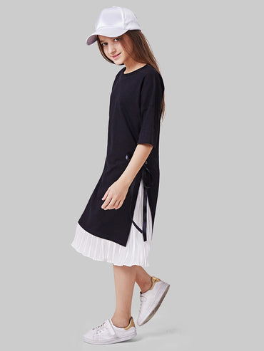 Girls Knot Split Side Top With Pleated Skirt