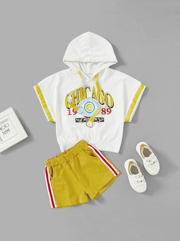 Girls Letter Print Hooded Tee With Shorts