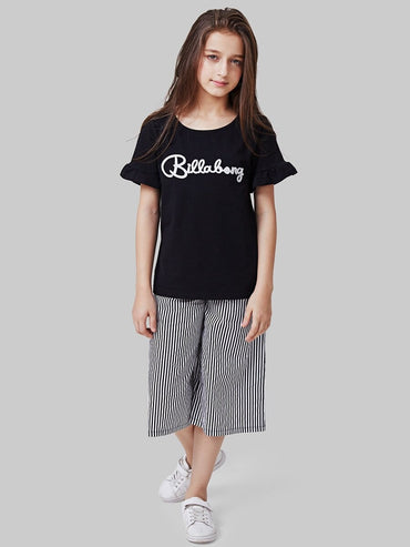 Girls Letter Print Tee With Pants