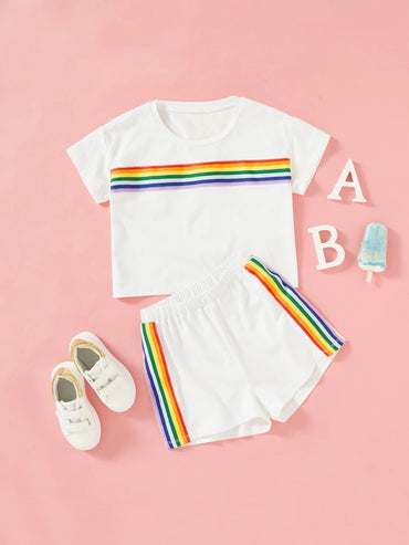 Girls Rainbow Striped Print Top & Shorts Set