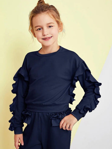 Girls Ruffle Trim Top & Pants Set