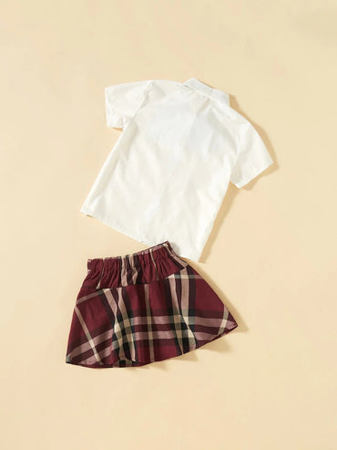 Girls Tie Neck Patched Blouse With Plaid Skirt